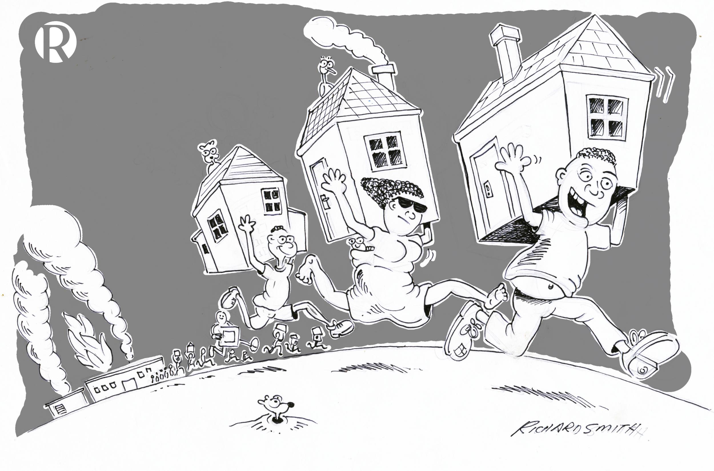 Richard Smith Cartoon EWC Looting Houses RS Grey